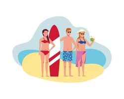 young people wearing swimsuits with surfboard and coconut characters vector