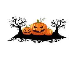 Halloween pumpkins with trees vector design