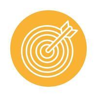 icono de estilo de bloque de flecha de destino vector