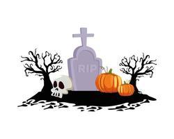 calabazas de halloween en el diseño del vector del cementerio