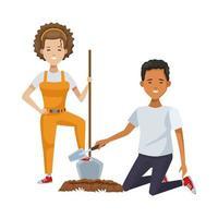 pareja ambientalista plantando con pala vector