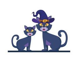 gatos de halloween con diseño de vector de sombrero de bruja