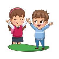 cute little kids avatars characters vector
