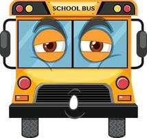 School bus cartoon character with face expression on white background vector