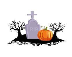 calabaza de halloween en el diseño del vector del cementerio