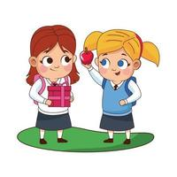 cute little girls with apple avatars characters vector