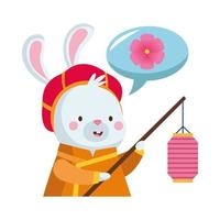 rabbit cartoon with traditional clothes and lantern vector design