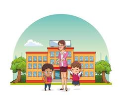 happy teachers day card with teacher and students outside school vector