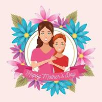 beautiful mother with daughter and floral frame mothers day card vector