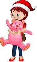 personaje de dibujos animados de niña feliz sosteniendo un osito de peluche vector