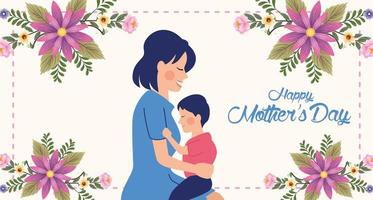 beautiful mother with son and floral frame mothers day card vector