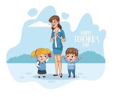 happy teachers day card with teacher and students vector