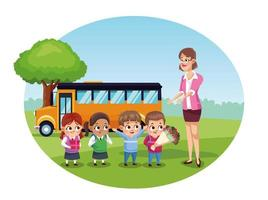 happy teachers day card with teacher and students by bus vector