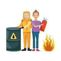 personas con traje de peligro biológico y extintor