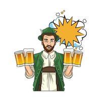 German man wearing Tyrolean suit with beers vector