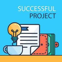 banner de proyecto exitoso vector