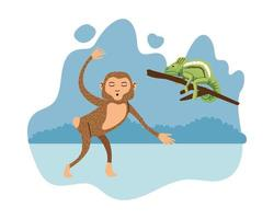 wild chameleon and monkey natural icon vector