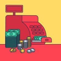 caja registradora y dinero vector