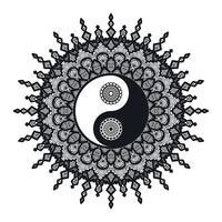 yin y yang vintage en mandala vector