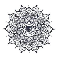 todos los ojos que ven en mandala vector