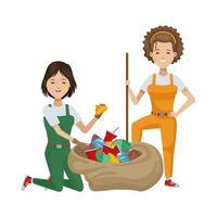 mujeres ambientalistas reciclando material plastico vector