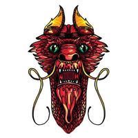tatuaje de cabeza de dragón vector