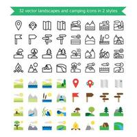 Landscapes and camping icons vector