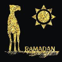 saludo de ramadán dorado con camello