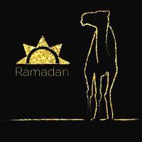 saludo de ramadán dorado con camello vector