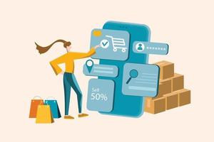 Online shopping concept, woman or girl chooses products and pay on mobile phone vector