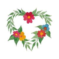 Vector Watercolor Heart Shape Flowers and Leaves