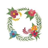 Vector Watercolor Circle Corner Flowers and Leaves