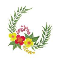 Vector Watercolor Circle Flowers Leaves and Branches