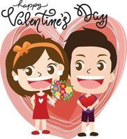 diseño de niños de dibujos animados feliz día de san valentín vector