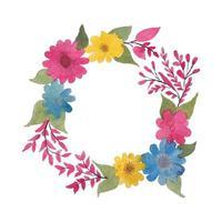 vector acuarela círculo flores hojas y ramas