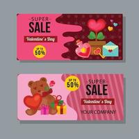 Valentine's day gift voucher coupon template set vector