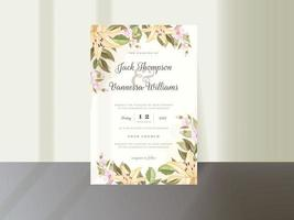 Elegant Floral Wedding Invitation Template vector