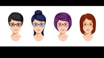 Set Heads Midle Aged Womens in Glasses vector