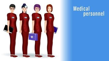 Doctors Women Medical Workers Stand in a Row