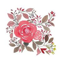 Creative Watercolor Pink Roses Leaves and Branches vector