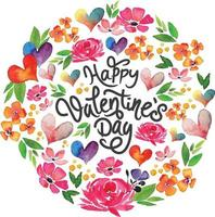 Watercolor happy valentine's day card design vector