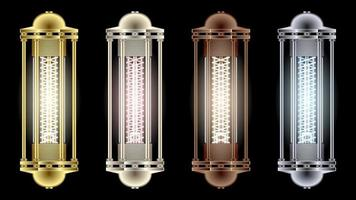 Set Flashlights from Different Metals Steampunk Style vector