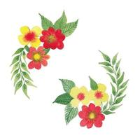 Vector Watercolor Flowers Leaves and Branches