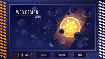Fantastic 3d Ball in Dark Blue Balls Background vector