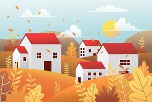 Landscape Autumn village house with nature scene
