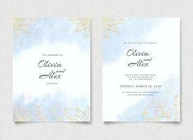 Watercolor Floral and Leaves Wedding Invitation Card vector