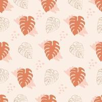 Seamless pattern with monstera leaves in brown color vector