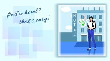 Woman Searches for a Hotel Using a Navigator on her Smartphone