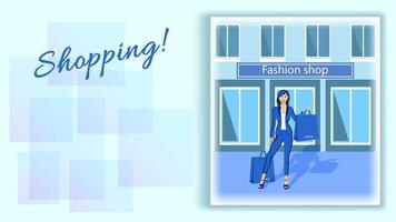 Woman at a Fashion Shop Window with Packages vector