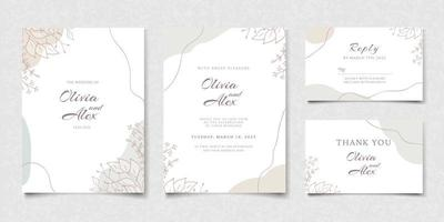 Elegant Floral Wedding Invitation Card Template vector